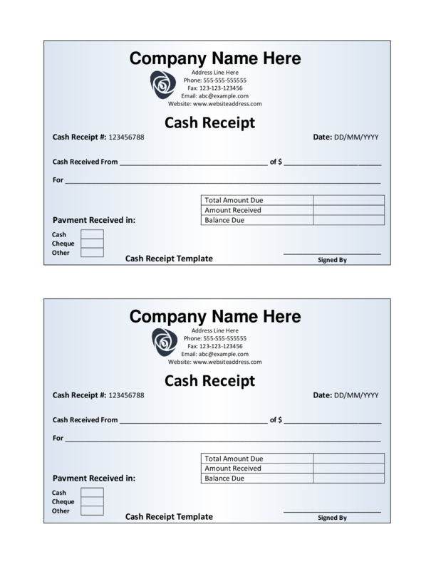 Cash Receipt Template | LegalForms.org
