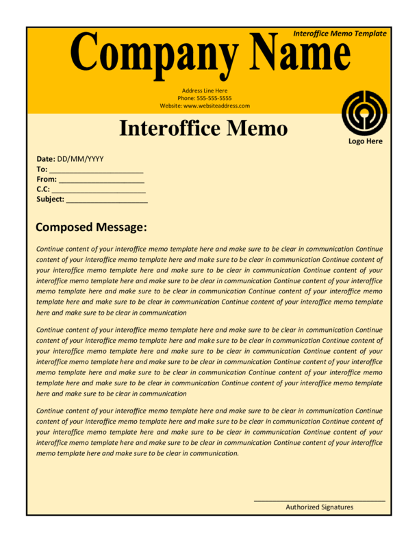 Doc12831658 Inter Office Memo 7 interoffice memo template – Interoffice Memo