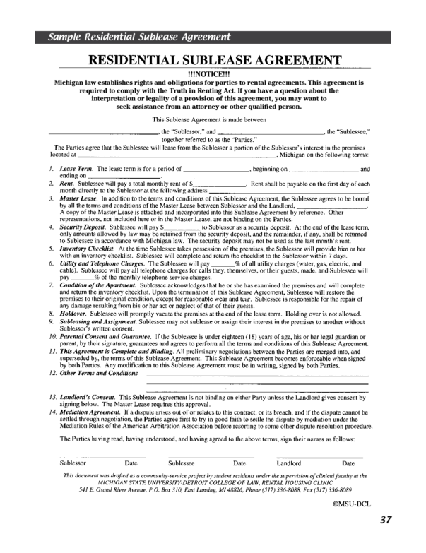Michigan Rental Lease Agreement Templates – Sublet Contract Template