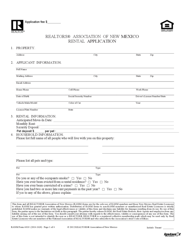 New Mexico Rental Application Legalforms