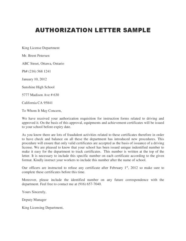 Authorization Letter – Sample Letter of Authorization