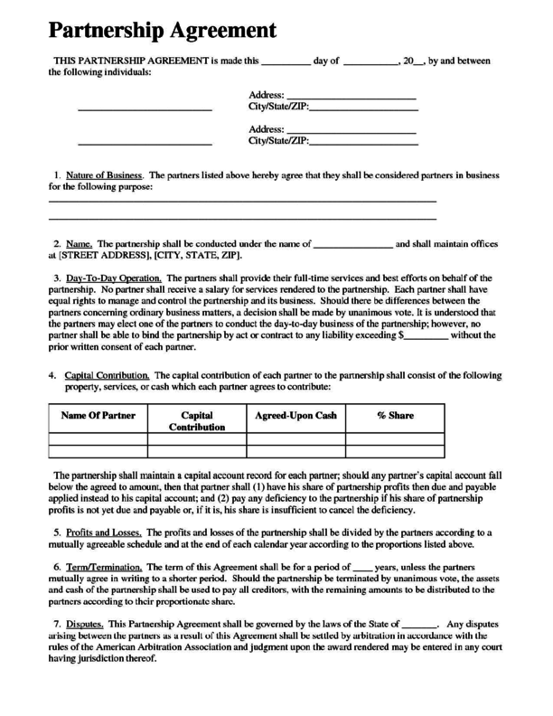 Doc600776 Free Partnership Agreement Form Sample Partnership – Partnership Agreement Format