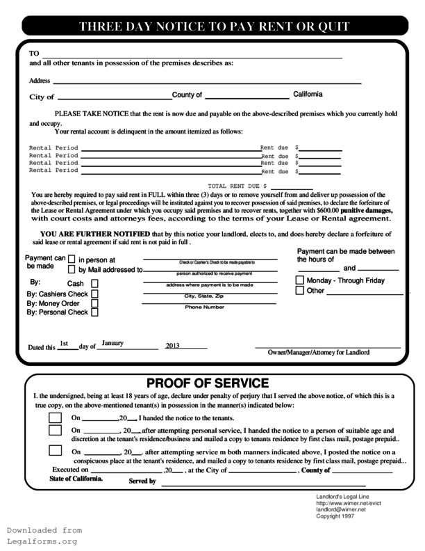 California 3 Day Notice  Eviction Form Template