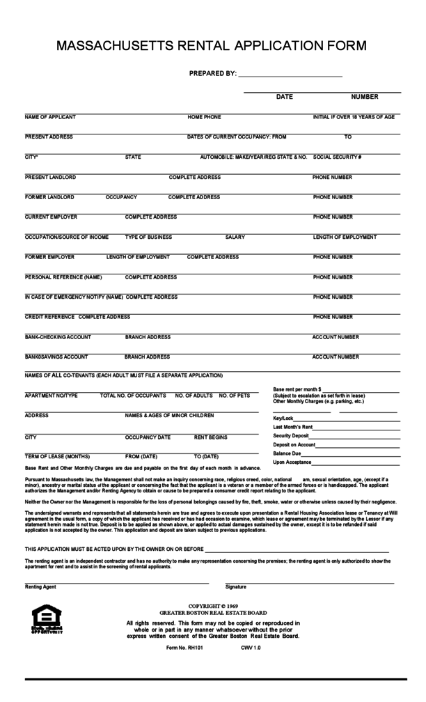 rental application ma Massachusetts Rental Application | LegalForms.org