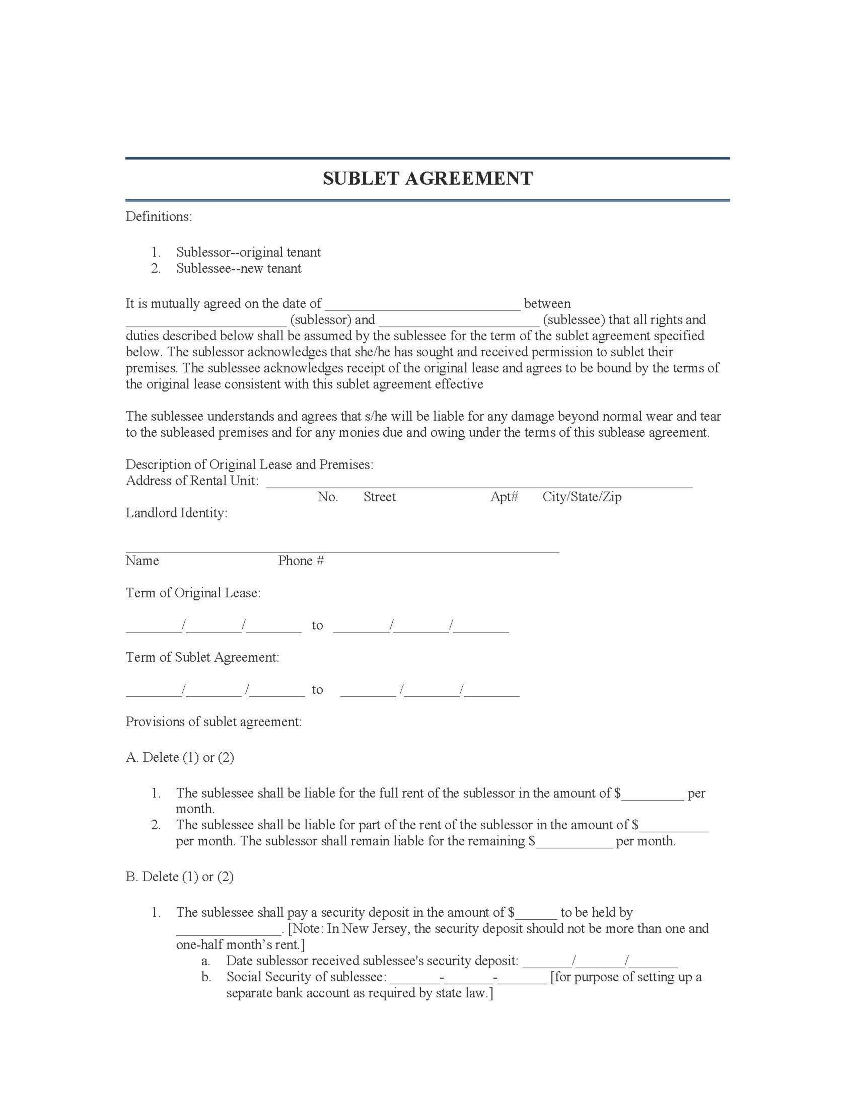 New Jersey Rental Lease Agreement Templates – Sublet Agreement Template