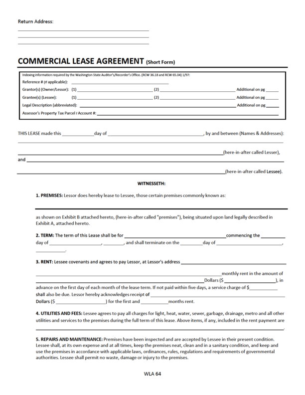 Washington commercial lease agreement legalforms platinumwayz