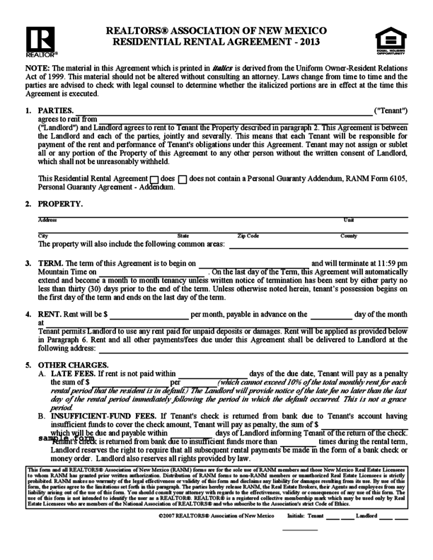 New Mexico Residential Lease Agreement Legalforms