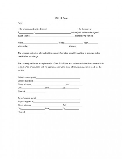 bill of sale form download