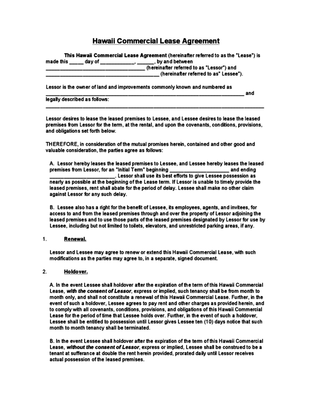 Hawaii Commercial Lease Agreement Legalforms