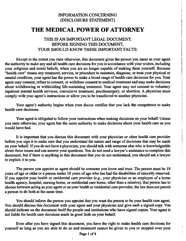 Medical Power Of Attorney Form Texas 2015 Archives