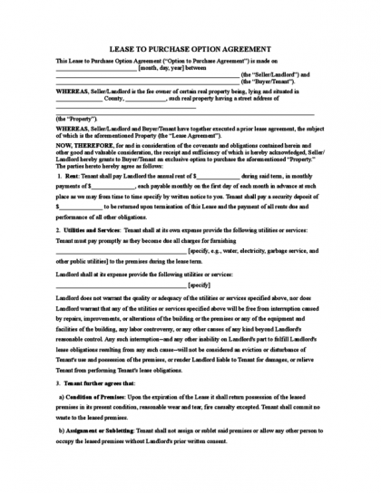 Rent to own contract legalforms free rent to own contract templates platinumwayz